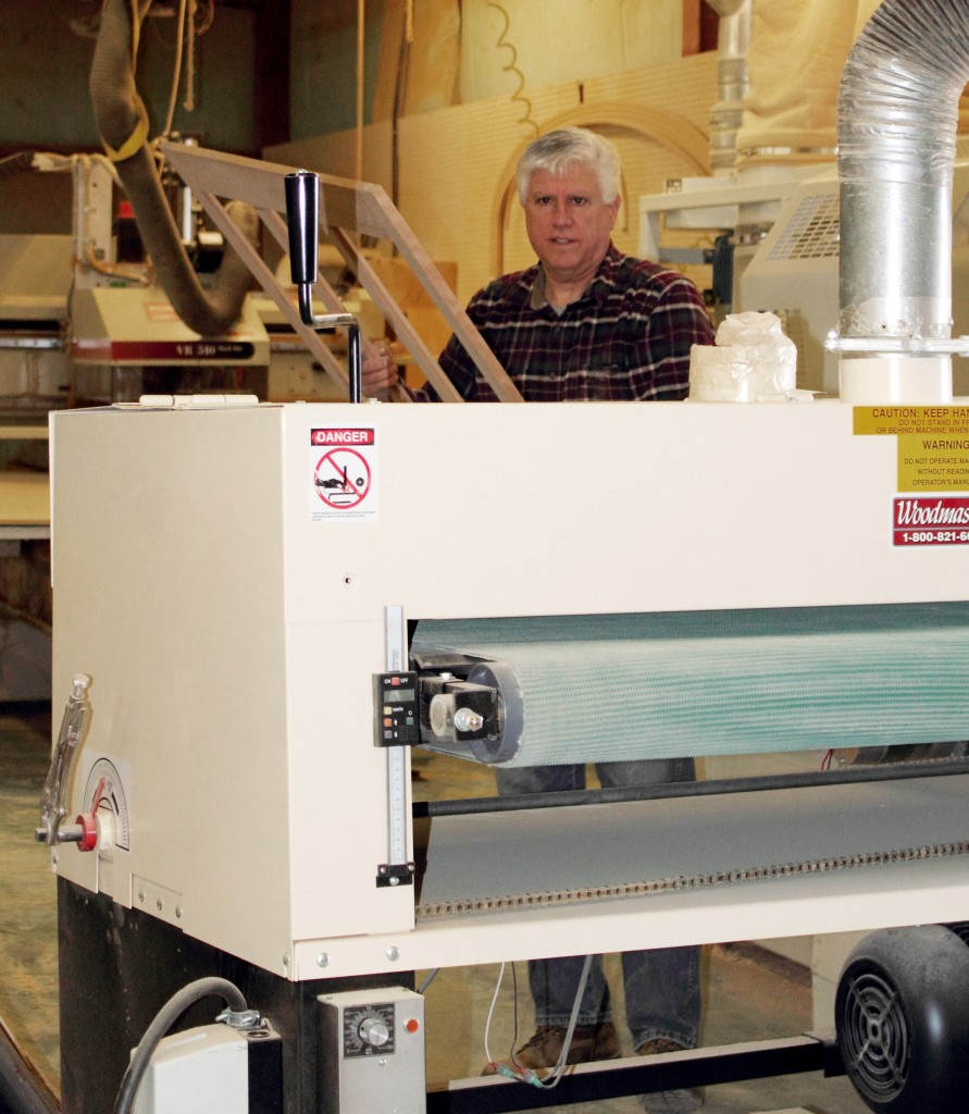 "Dante puts his 50"" Woodmaster Drum Sander through it's paces. He's making a good living as a cabinetmaker in today's tough economy. Woodmaster helps by slashing his operating costs."