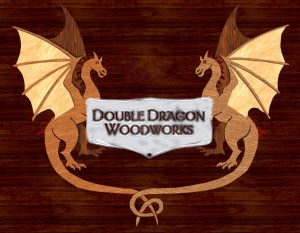 "Here's Bruce's ""Double Dragon Woodworks"" business logo made of inlaid veneer."
