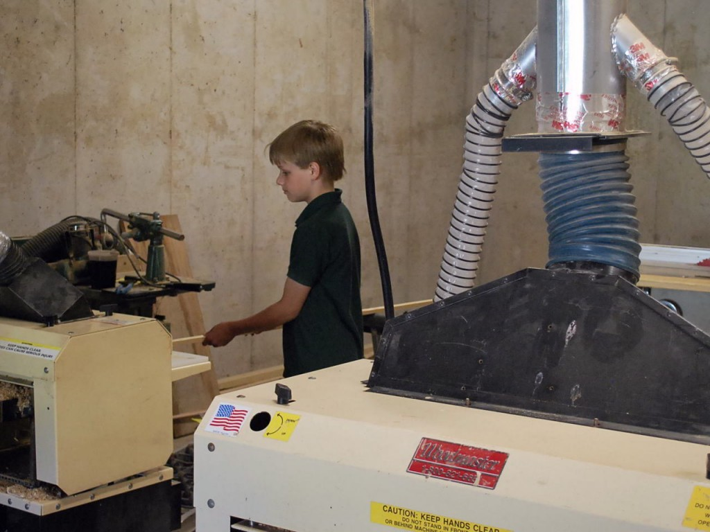 Garrett gets into woodworking with one of the family's two Woodmasters...under Dad's close supervision, of course.