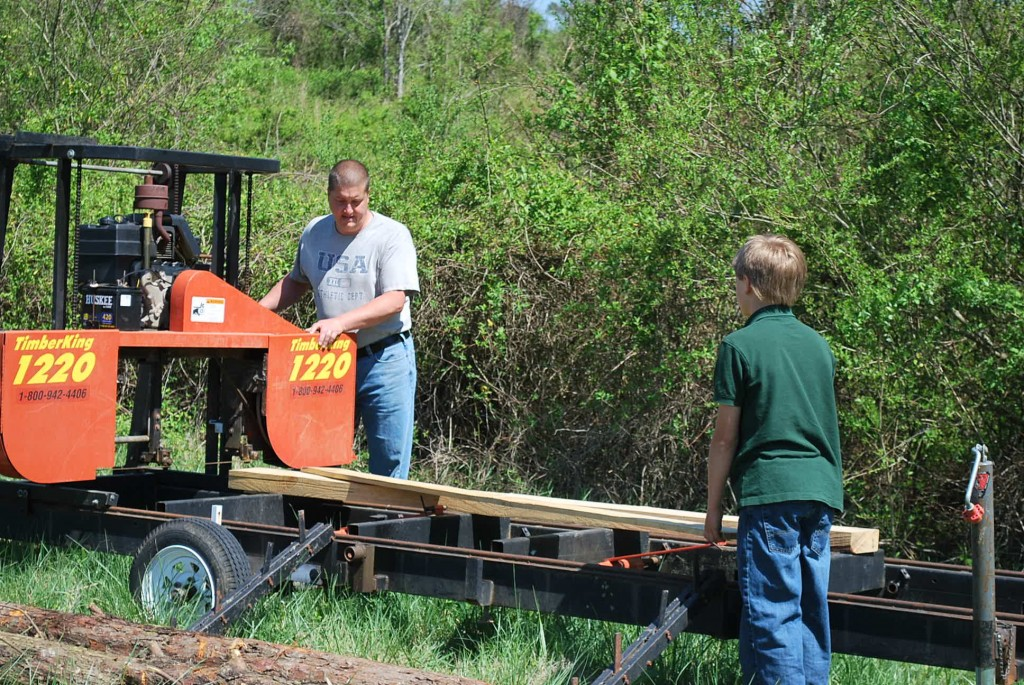 Scott and his son, Garrett, mill their own lumber on their TimberKing 1220 Sawmill. Many woodworkers find sawing is a great way to slash their lumber costs. And when they process their own wood further in their Woodmasters, they add value at every step.