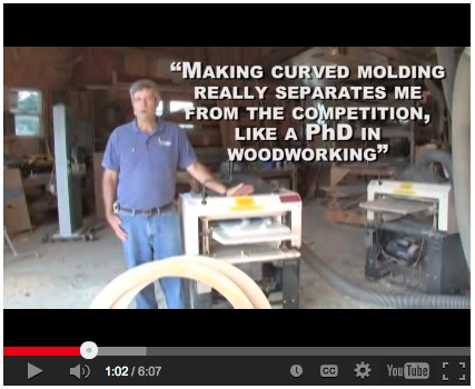Click here to watch Gary's video on  how to use the Woodmaster Molder/Planer to make pro-quality curved molding.