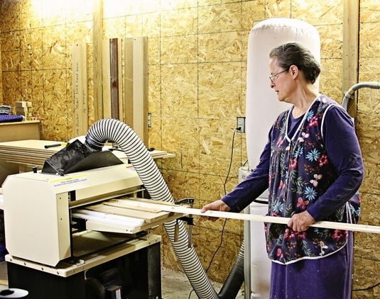 Elizabeth Floyd has plans to develop her burgeoning woodworking business into an income-generator for her retirement. She does beautiful work!