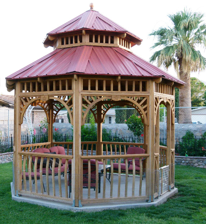 """Here's a 12' gazebo Ed built using his Woodmaster Molder/Planer. """"It's made from rough sawn Redwood I planed with my Woodmaster,"""" he tells us. """"It's my own design and I put lots of work into all the deta"""