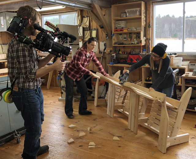 "Funny how success brings more opportunities. Petra (left) and Melissa were asked to demonstrate their D-I-Y skills on an episode of the ""Maine Cabin Masters D-I-Y Network."""