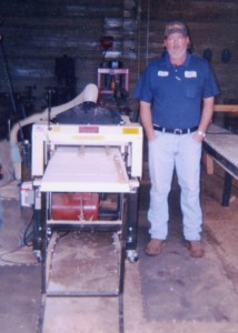"Robert Parmer in his shop with his ""4-Way Money Maker"" -- his Woodmaster Molder/Planer"