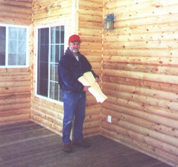 HALF A MILE of log cabin siding is a lot of siding! Walter made it by having his own trees sawn, then passing them through is Woodmaster Molder/Planer.