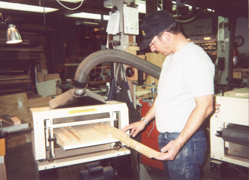 Bruce runs a blank through his Woodmaster Molder/Planer. He got it to make picture frame stock. He orders custom pattern knives from Woodmaster to reproduce antique patterns that haven't been produced in 150 years.