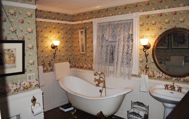 Here's some of Jim's handiwork -- a historically-accurate bathroom in their charming Victorian vacation home.