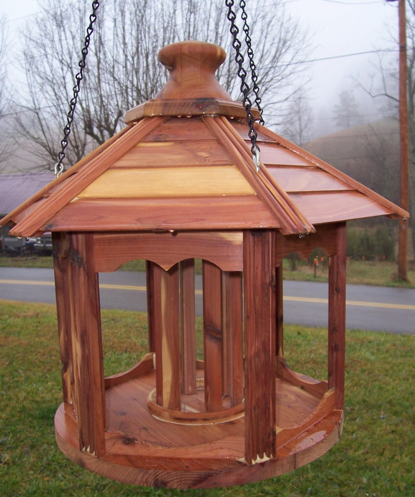 Johnny says he makes just about anything people ask him to. That includes furniture, cabinetry, wood molding, and much more. Here's one of Johnny's bird feeders -- handsome and functional.