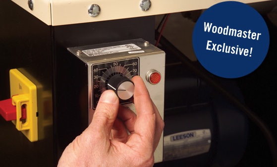 Woodmaster's Infinitely Variable Feed Rate gives you 10X more cuts-per-inch than ANY other molder or planer - that means super-fine finishes no other planer or molder can match. Simply turn the dial and choose from 70 to over 1,000 CPI or anywhere inbetween. More CPI means a super smooth finish!