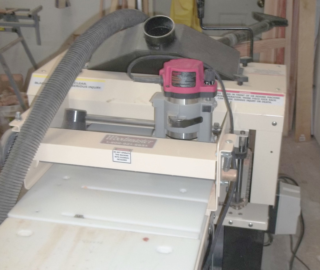 Nick added Woodmaster's 3-Side Molding System, shown here with one of its two routers in place