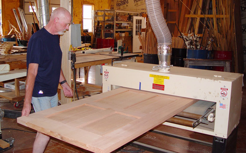 How do you sand 76 full size doors without spending a lifetime doing it? Simple — do what Charles did: run 'em through a 50″ wide Woodmaster Drum Sander.