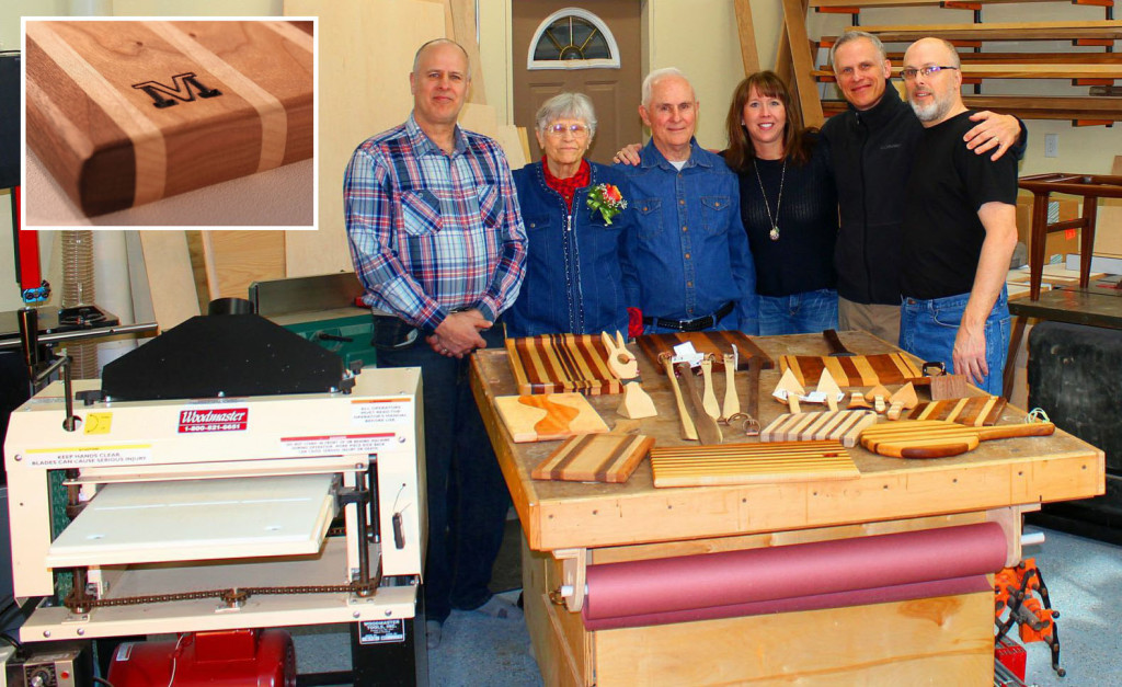 It takes a family to start a business! Here's the whole Mayer crew of Vern's Wood Goods, from left to right: Joe, Dorothy, Vern, Mary, Peter, and Paul. Sister, Julie Drews was not available during this crew gathering! Upper left: Vern brands his logo into every piece he makes.