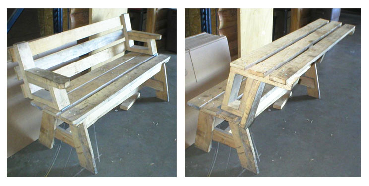 You've got to admit it — this is pretty clever. Matt makes benches (left) with backs that flip up to form half a picnic table (right). When you have two of them, leave the tops down and you've got two benches. Flip the tops over and put two together and you have a full size picnic table.