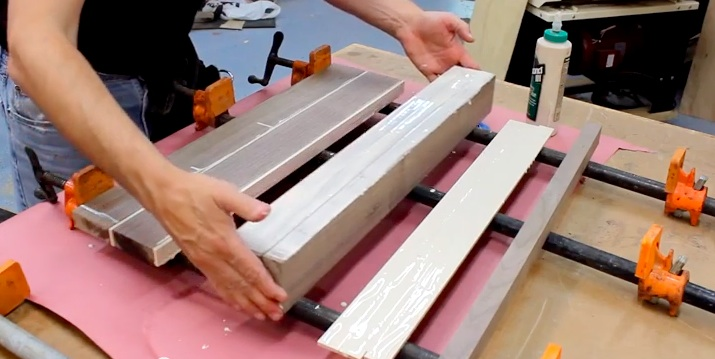 "In this video, Paul demonstrates how to glue up alternating rows of walnut and maple woods to achieve the unique ""brick-and-mortar"" pattern."