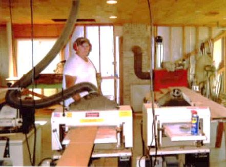 """You might call this Larry's """"man cave"""" -- he calls it his workshop, set up with his 712 and 718 Woodmaster Molder/Planers."""