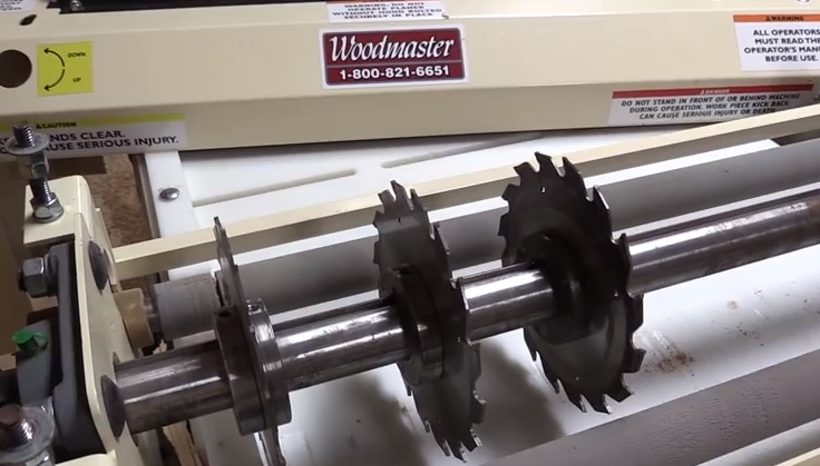 Wide boards are easily ripped into precision blanks, several at a time, with Woodmaster's Gang Rip Saw head.