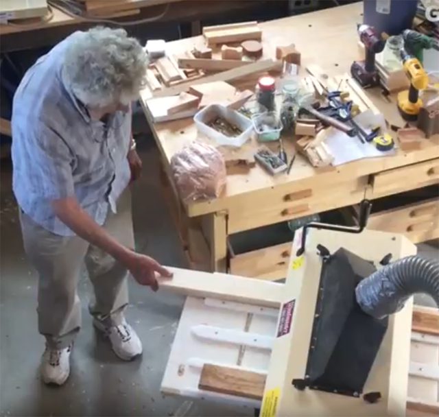 Here's Chris in his workshop creating I Wood with his Woodmaster Molder/Planer