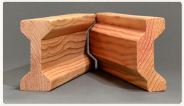 I Wood (left) and C Wood are wood profiles created and patented by woodworker, Chris Scott. These are the basis of his unique building system and his solution to housing the homeless.