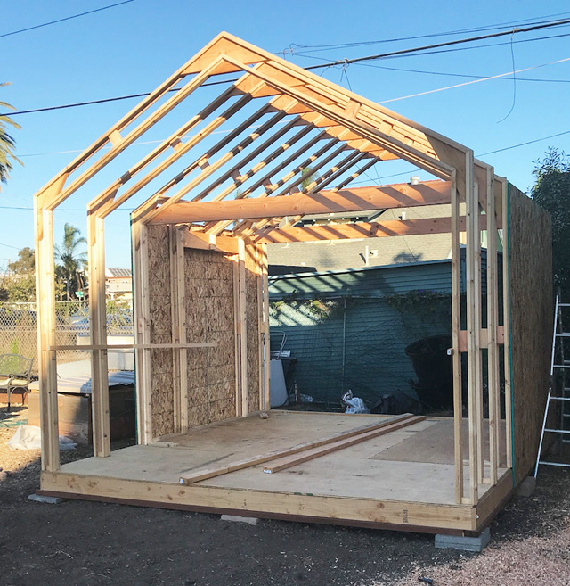 I Wood framing goes up quickly and easily...
