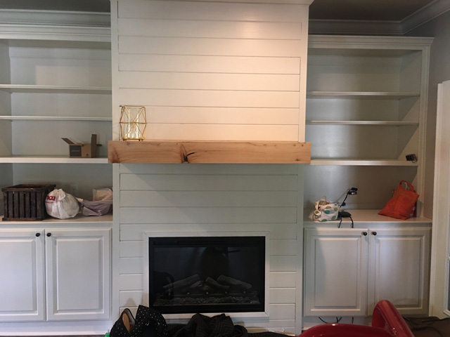 Jeff's gotten work by making connections with local builders. Here's one recent project he built, a seamless cypress mantle.