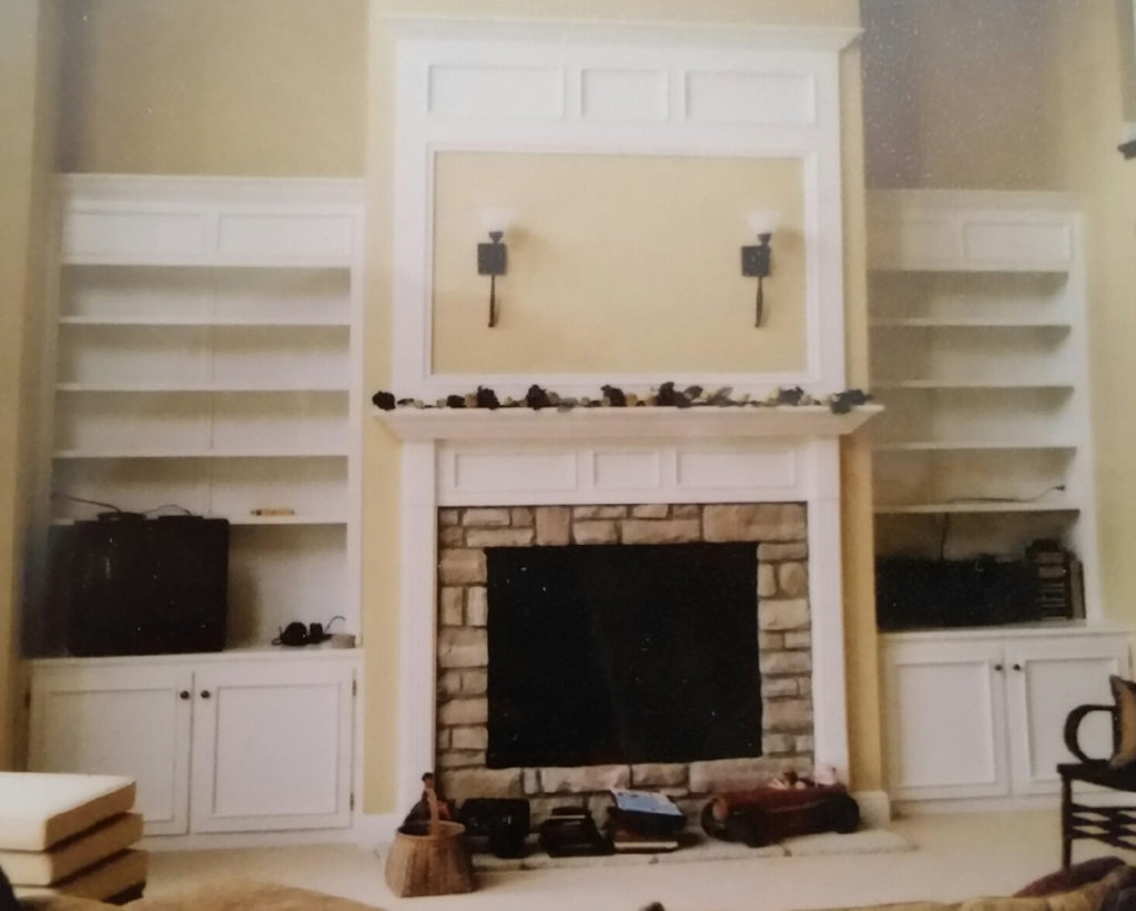 """Dave's built """"just about any imaginable wood project,"""" he says. Here's a very handsome double mantlepiece with matching book shelves he built. Painted poplar."""