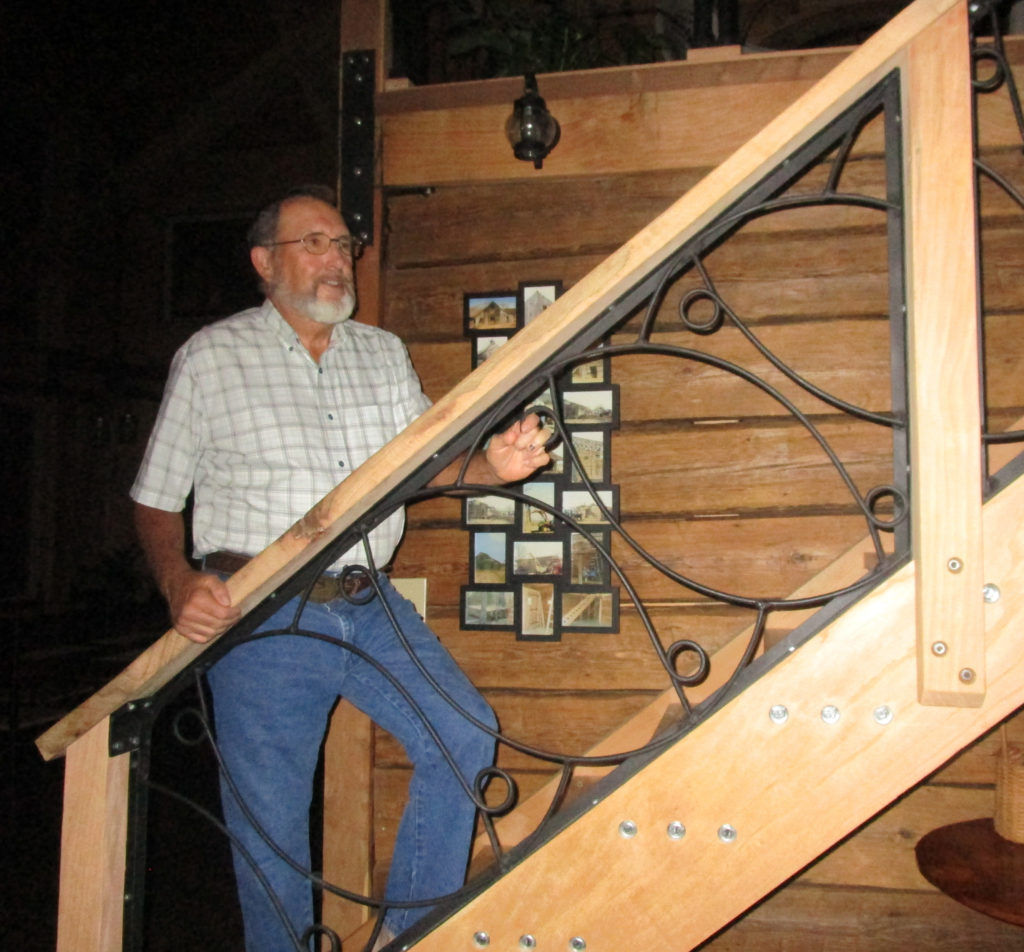 "Tom, our Woodmaster Woodworker of the Month, shows off his home's stairway. Interestingly, he welded up the balusters from the teeth of an antique, horse-drawn hay rake. ""We always called them 'dump rakes,' he told us.way. Interestingly, he made the balusters from the teeth of an antique, horse-drawn hay rake. ""We always called them 'dump rakes,' he told us."